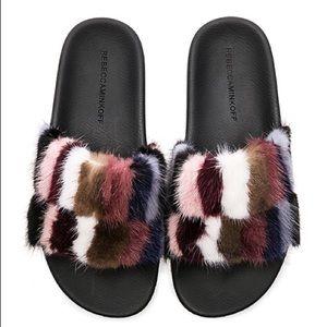 Rebecca Minkoff fur slides